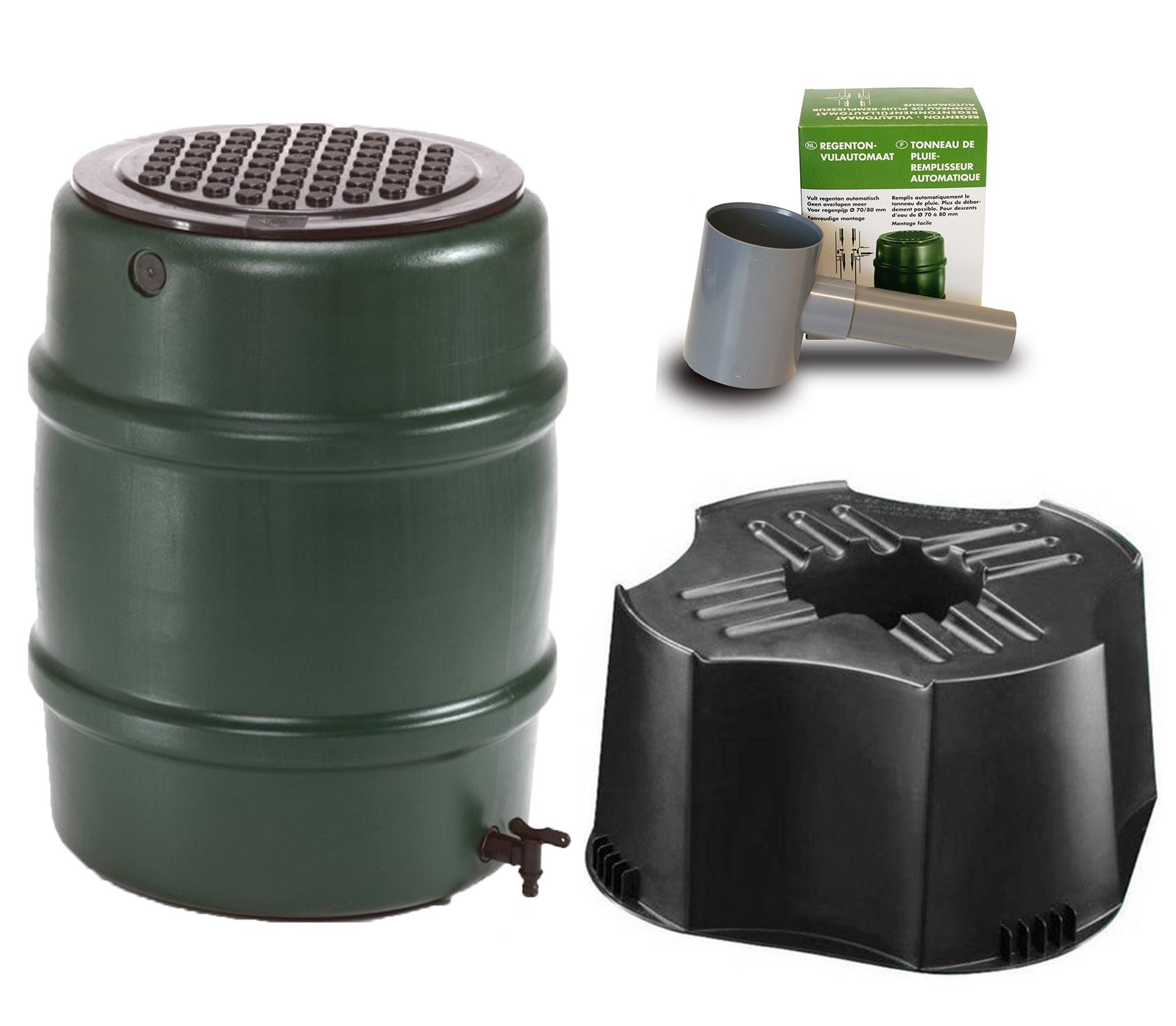 Harcostar Kunststof Regenton Groen 114 Liter Met Voet en Vulautomaat