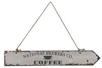 Houten Bordje Coffee Wit 58 x 9 x 1.2 cm