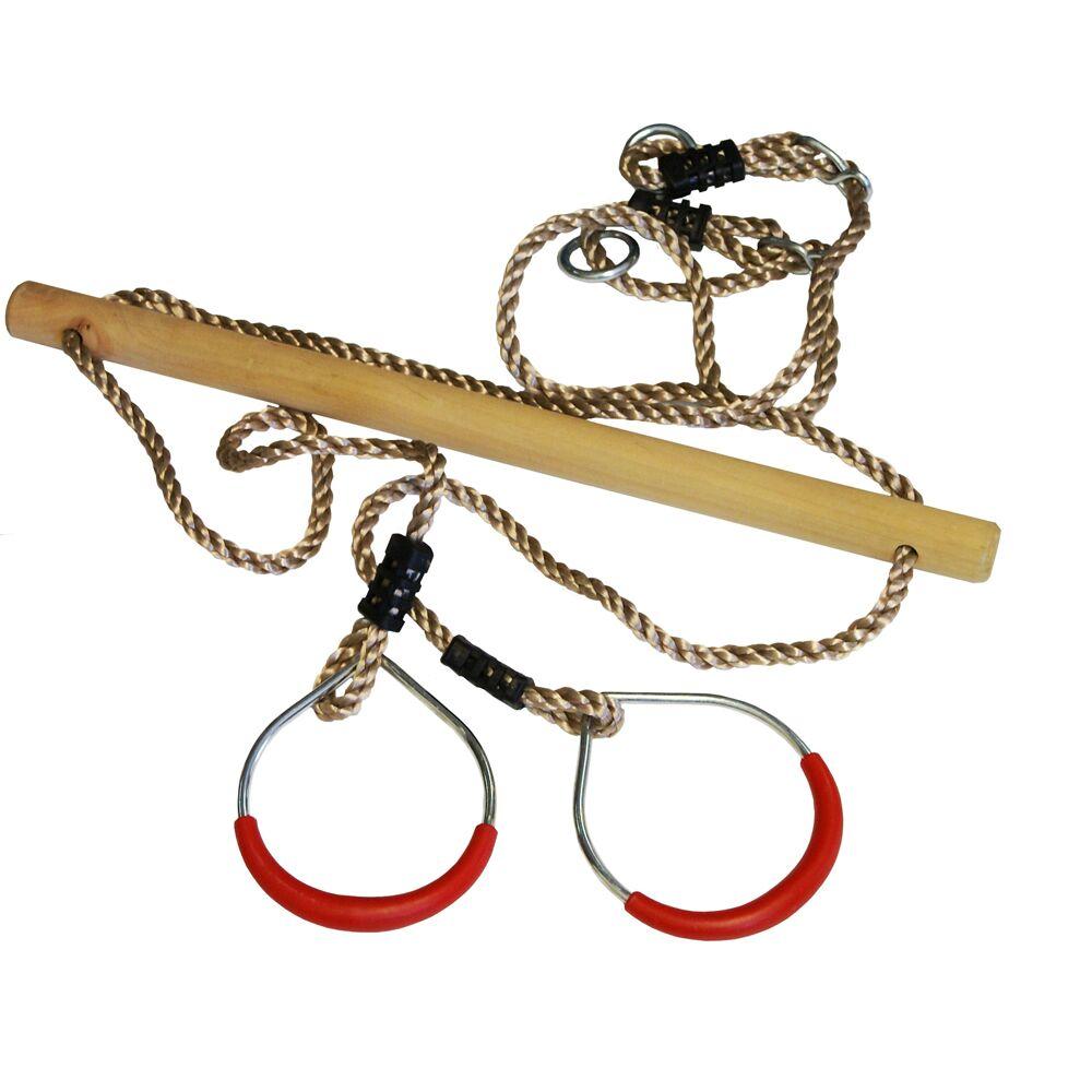 Trapeze hout/ringen in metaal 165 cm ø 12 cm