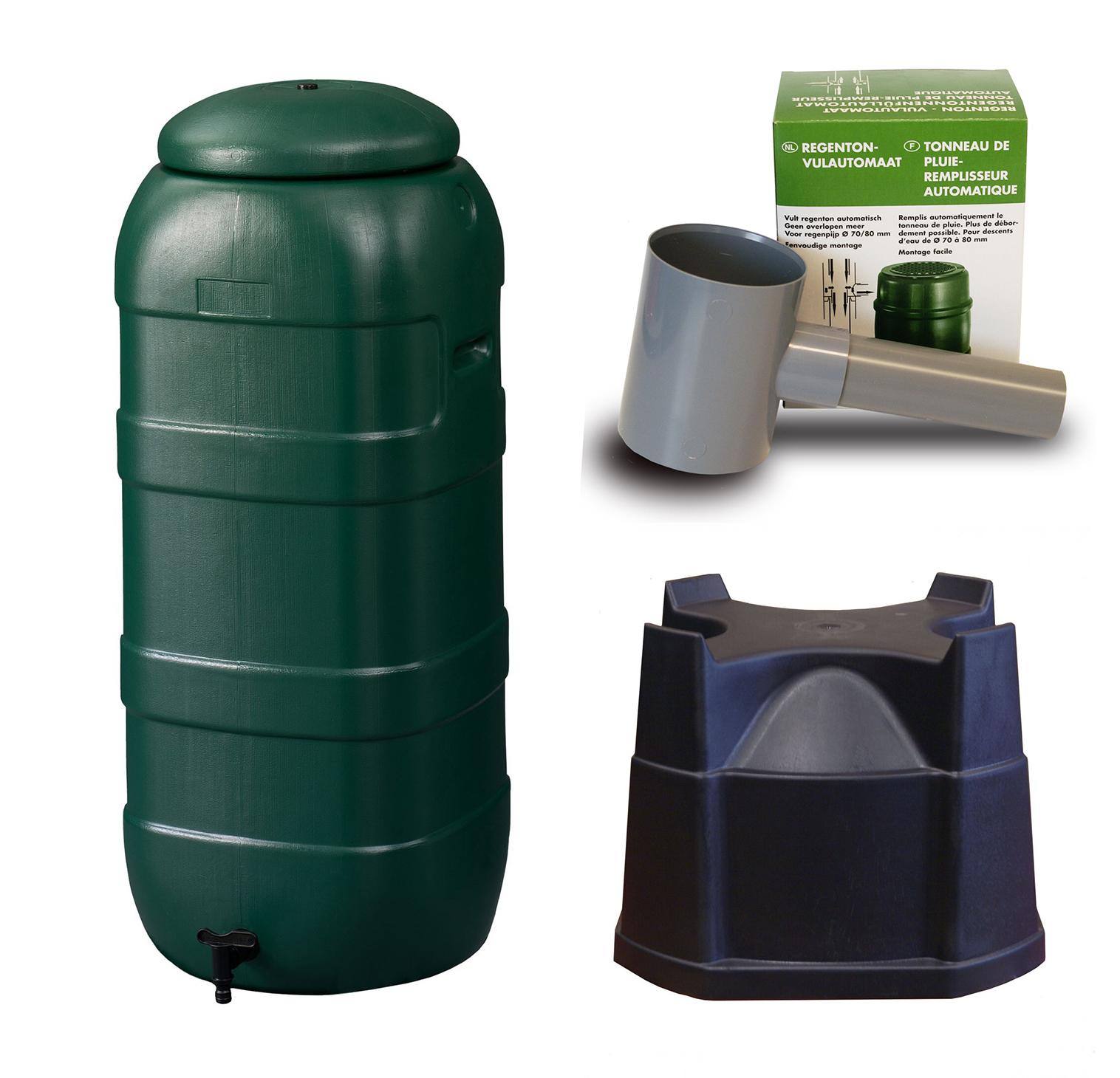 Harcostar Rainsaver Regenton 100 Liter Groen met Vulautomaat en hele Voet