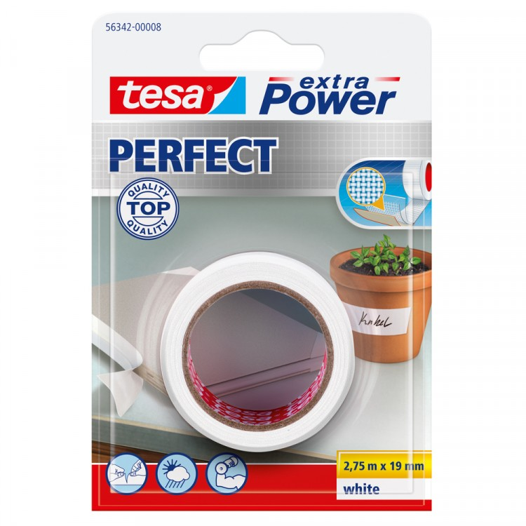 Tesa Extra Power Perfect Textieltape Wit 19 mm 2.75 Meter