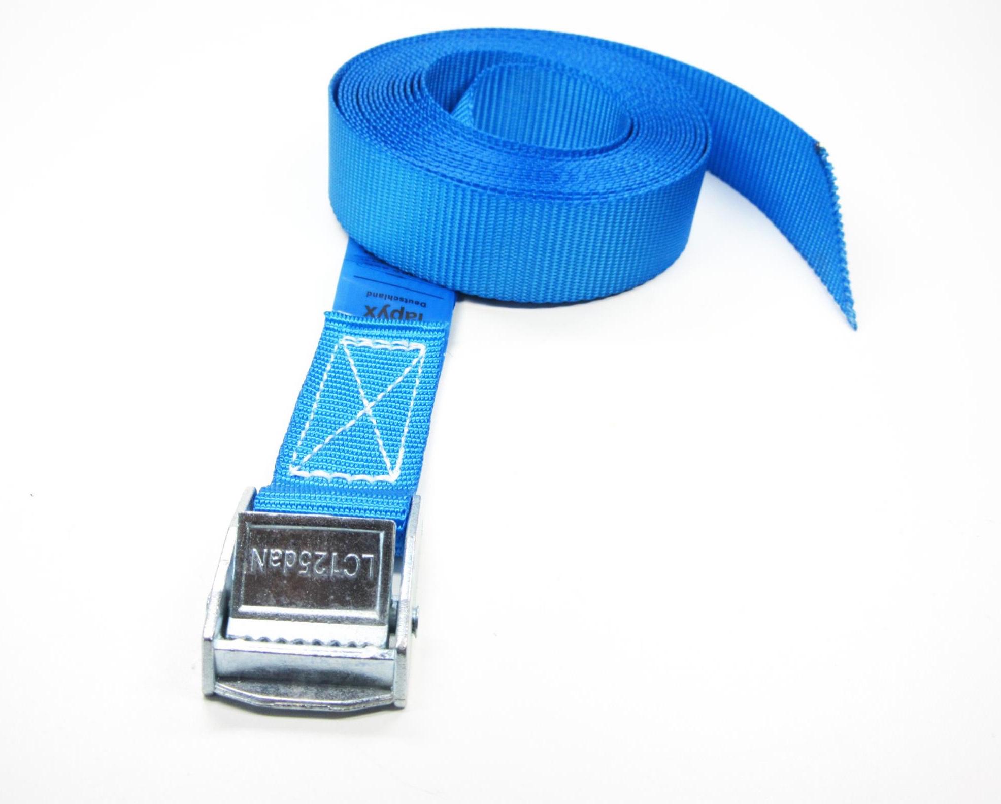 Spanbanden 25 mm blauw met klemsluiting