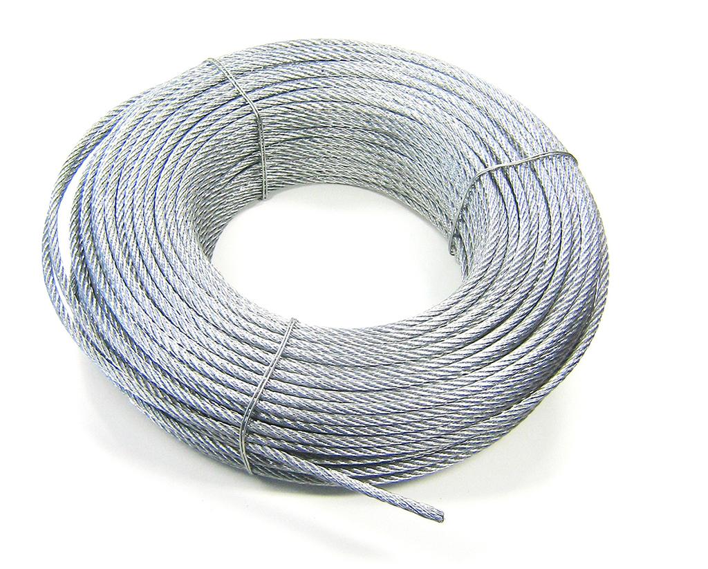 Staaldraad verzinkt 6x7 met touwkern 2 mm