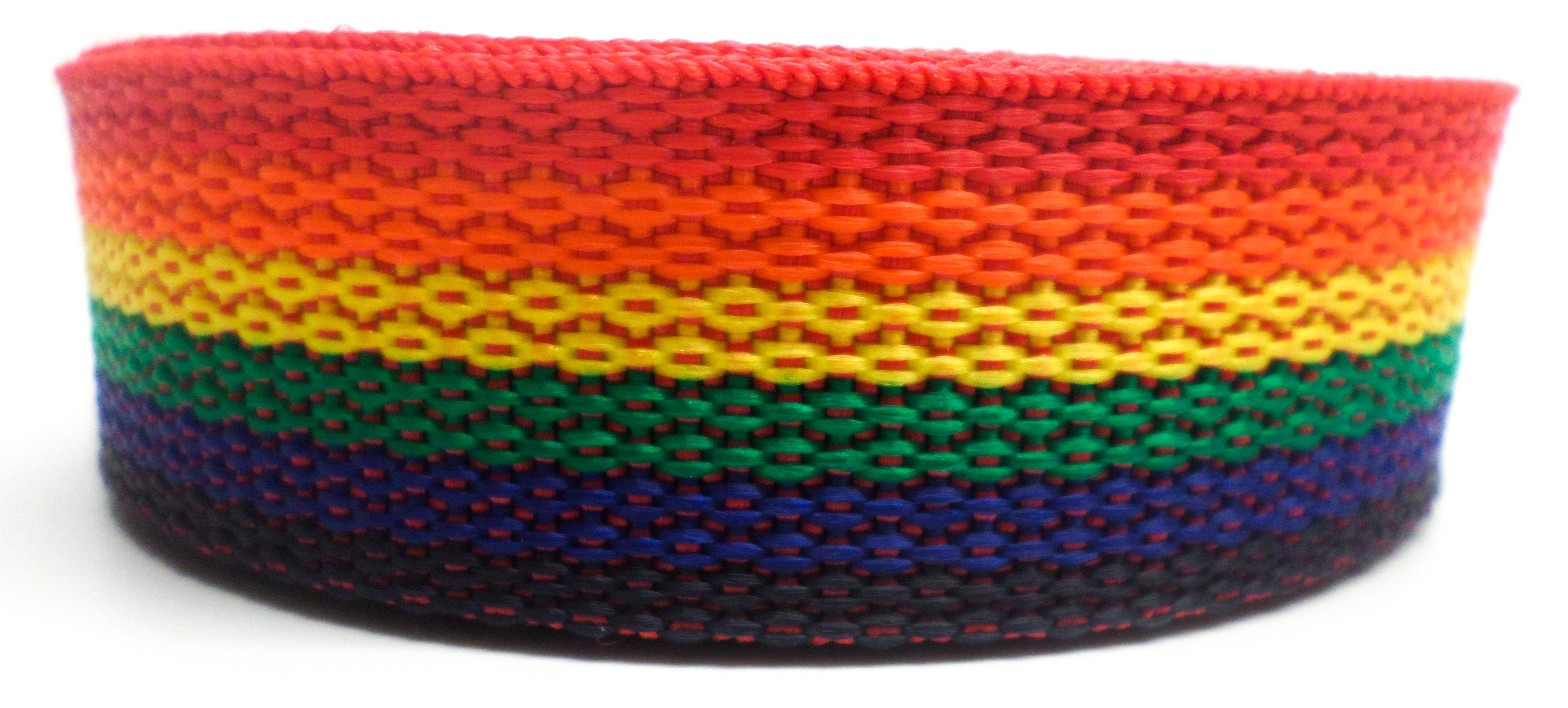Band regenboog op rol 50 mm 50 meter