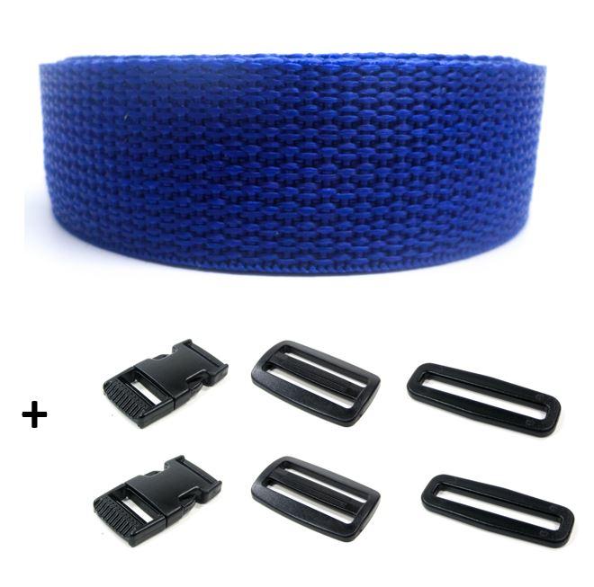 Complete band blauw 25 mm 5 meter en gespen