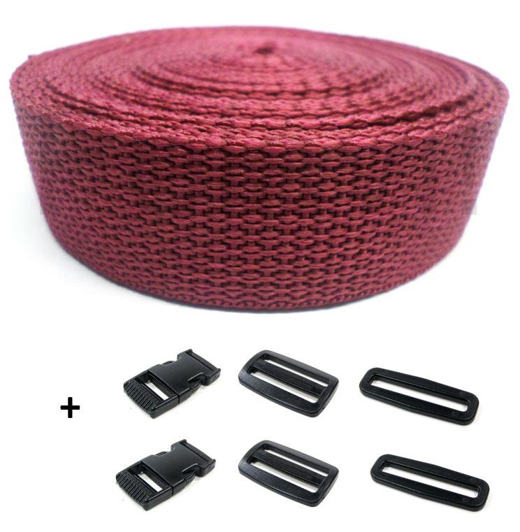 Complete band bordeaux 25 mm 5 meter en gespen
