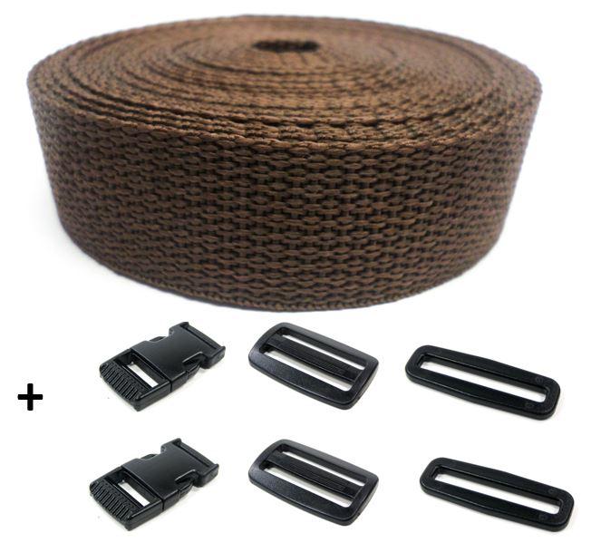 Complete band bruin 25 mm 5 meter en gespen