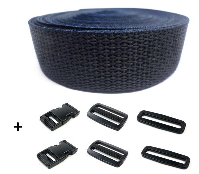 Complete band donkerblauw 25 mm 5 meter en gespen