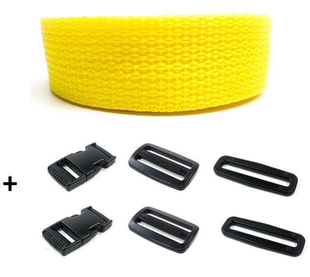 Complete band geel 25 mm 5 meter en gespen