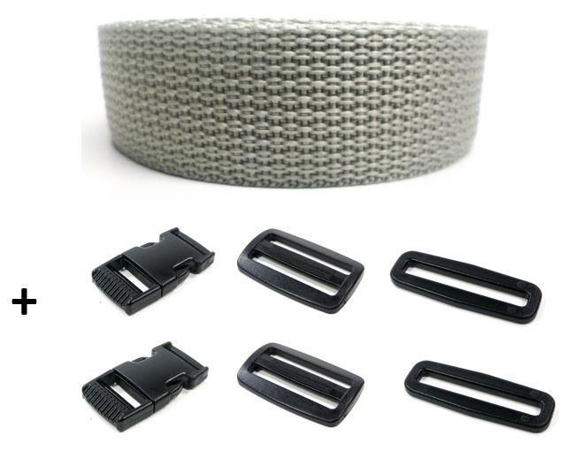 Complete band grijs 25 mm 5 meter en gespen