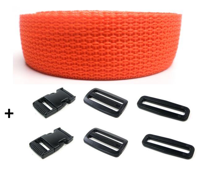 Complete band oranje 25 mm 5 meter en gespen