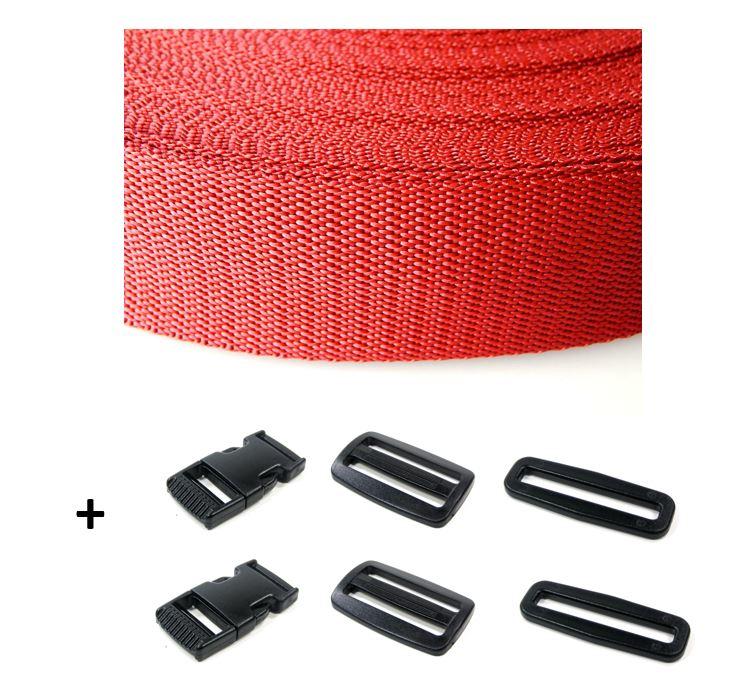 Complete band rood 25 mm 5 meter en gespen