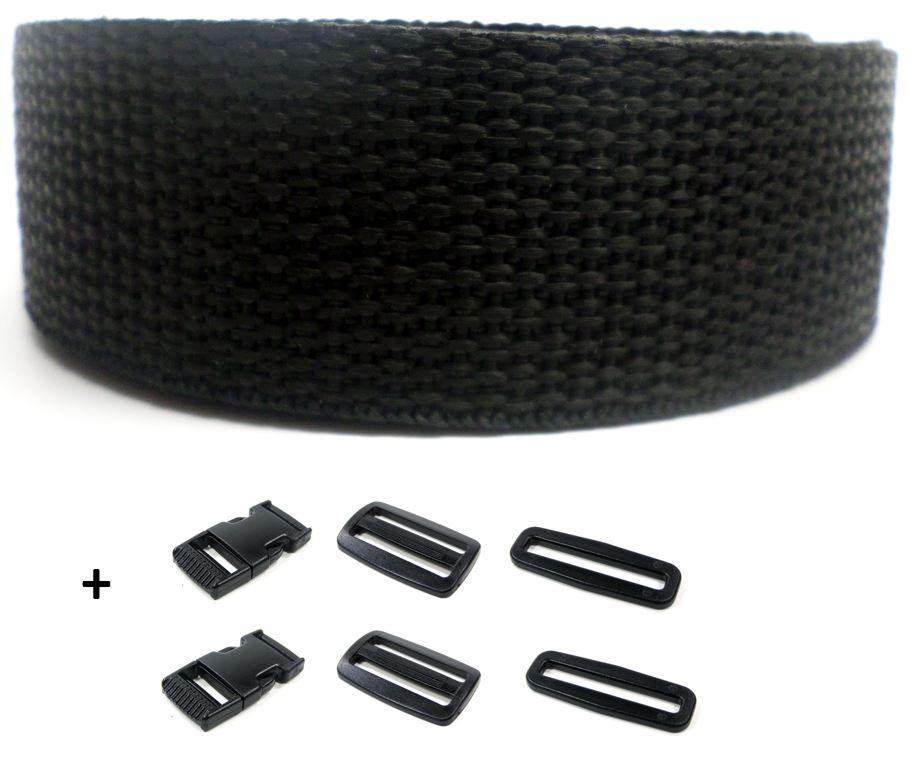 Complete set band zwart op rol en gespen 20 mm 10 meter