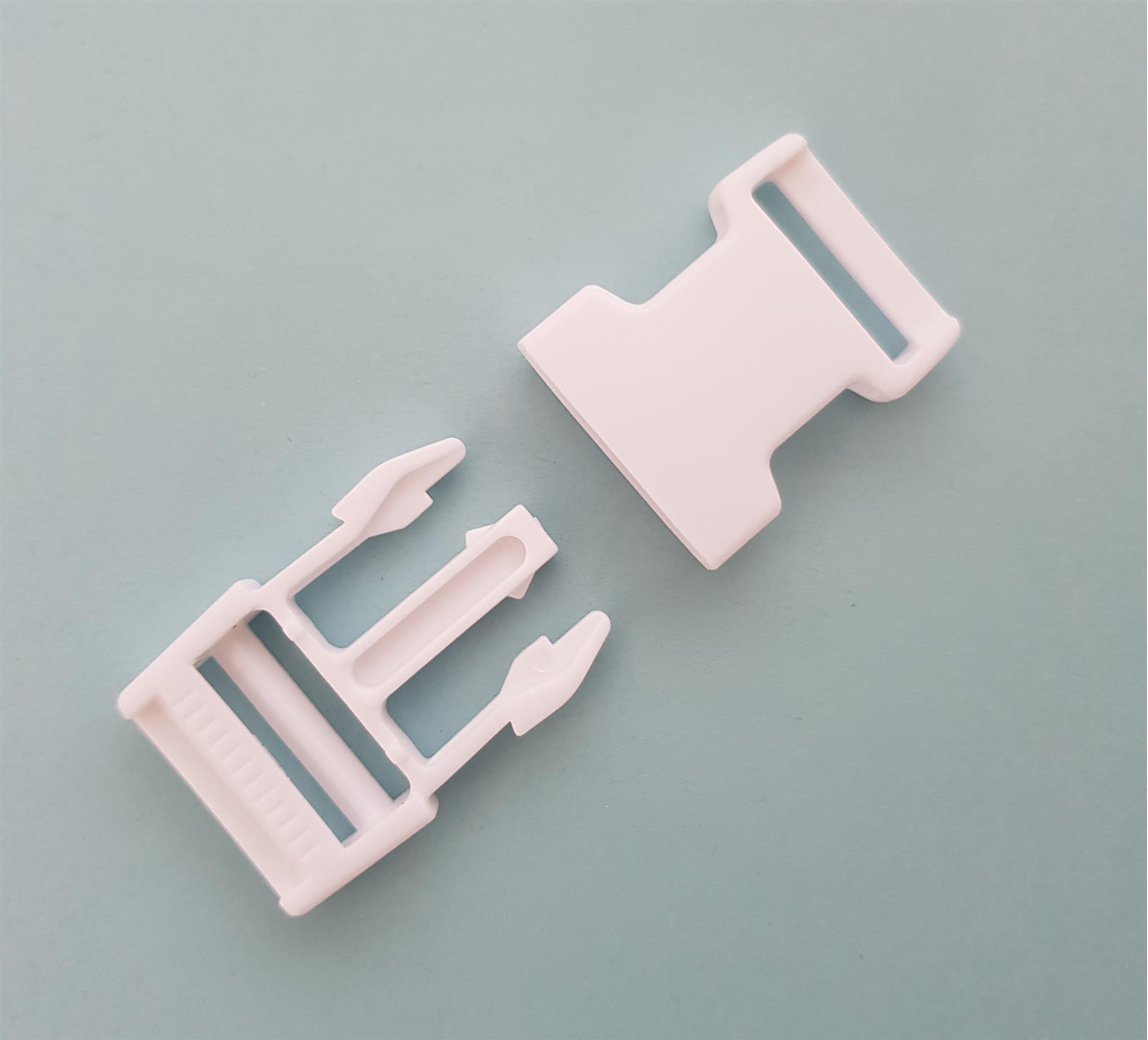 Kunststof gespsluiting wit 25 mm