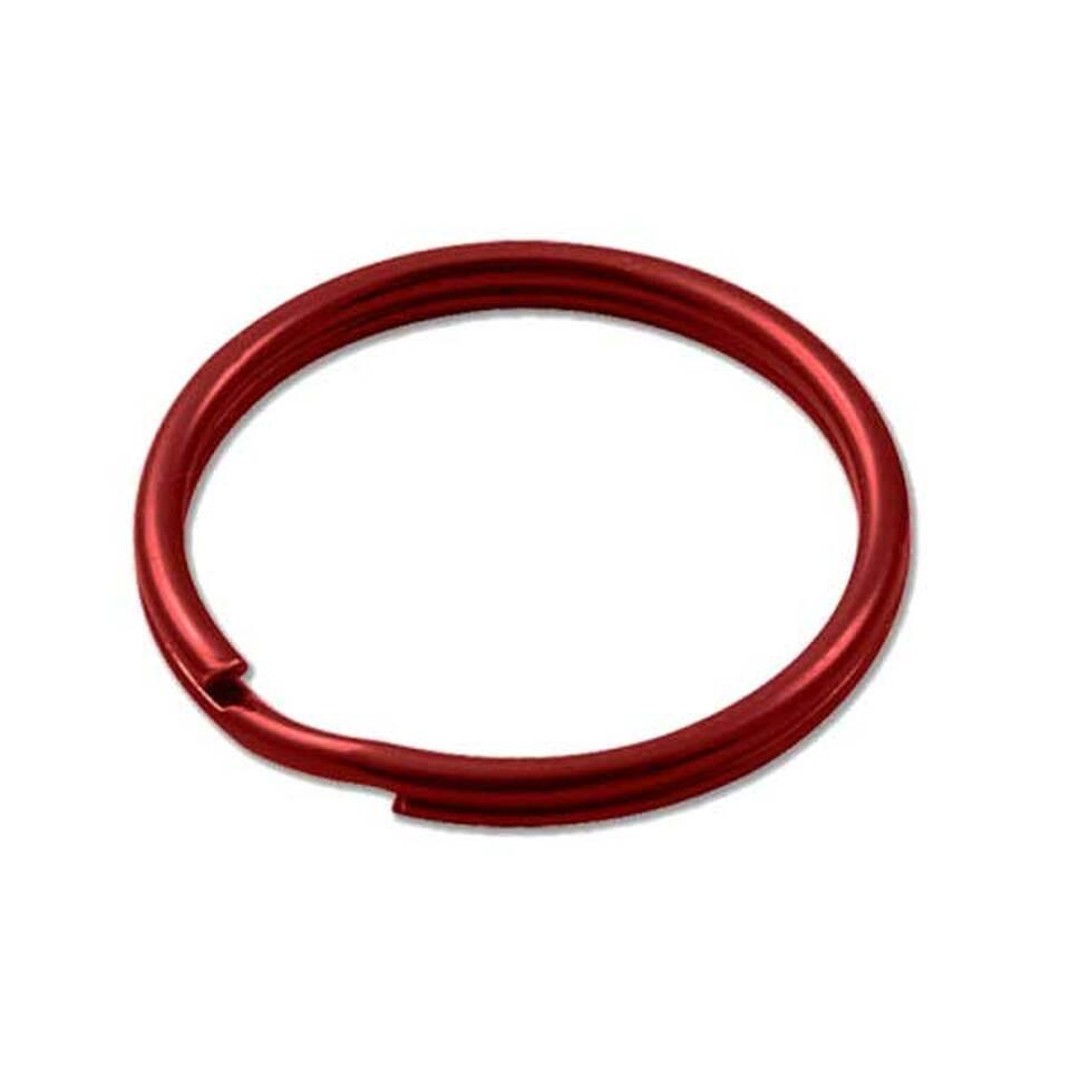 Sleutelring rood 25 mm 10 stuks