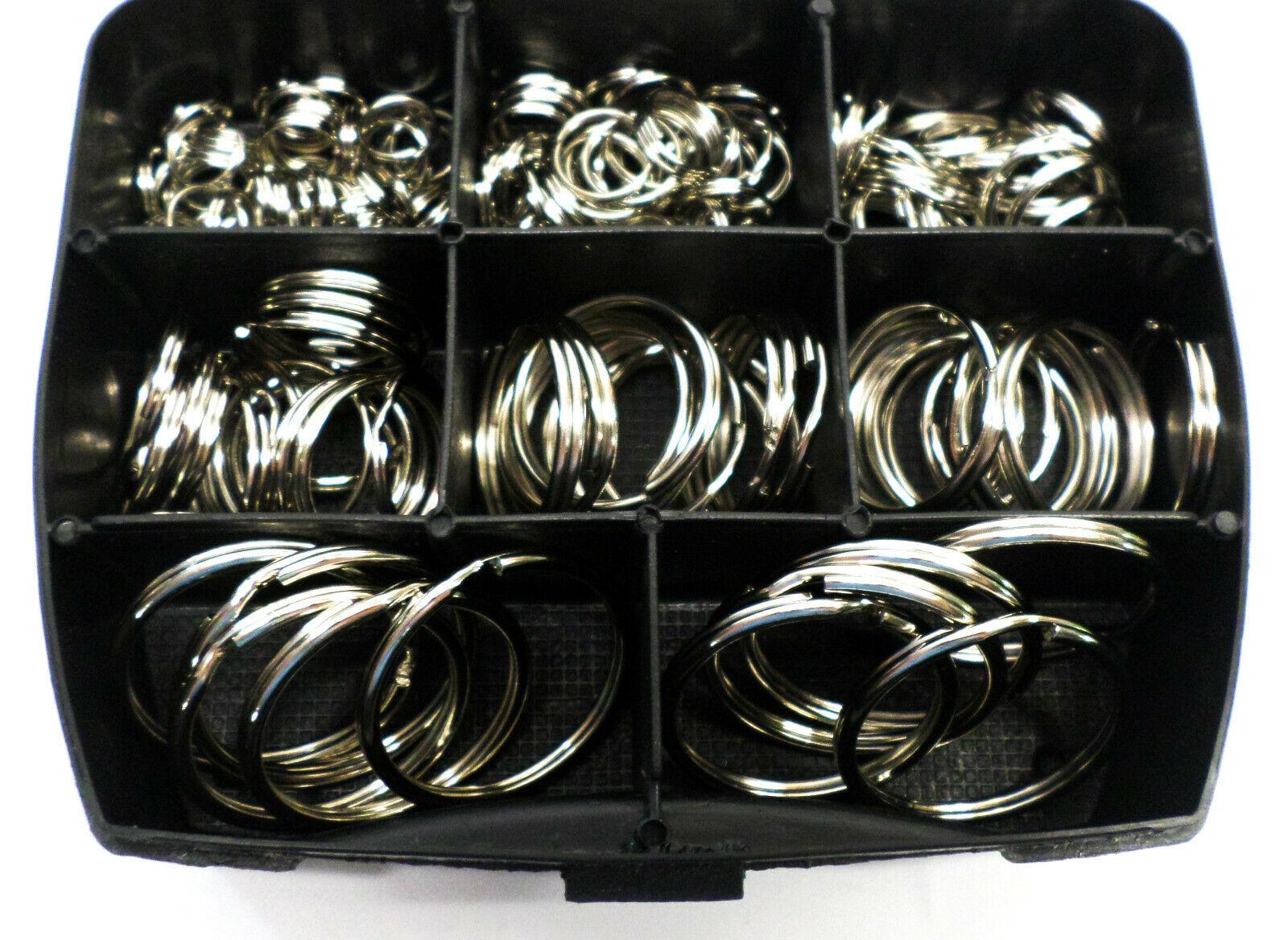 Sleutelringen vernikkeld in assortimentsbox 176 stuks