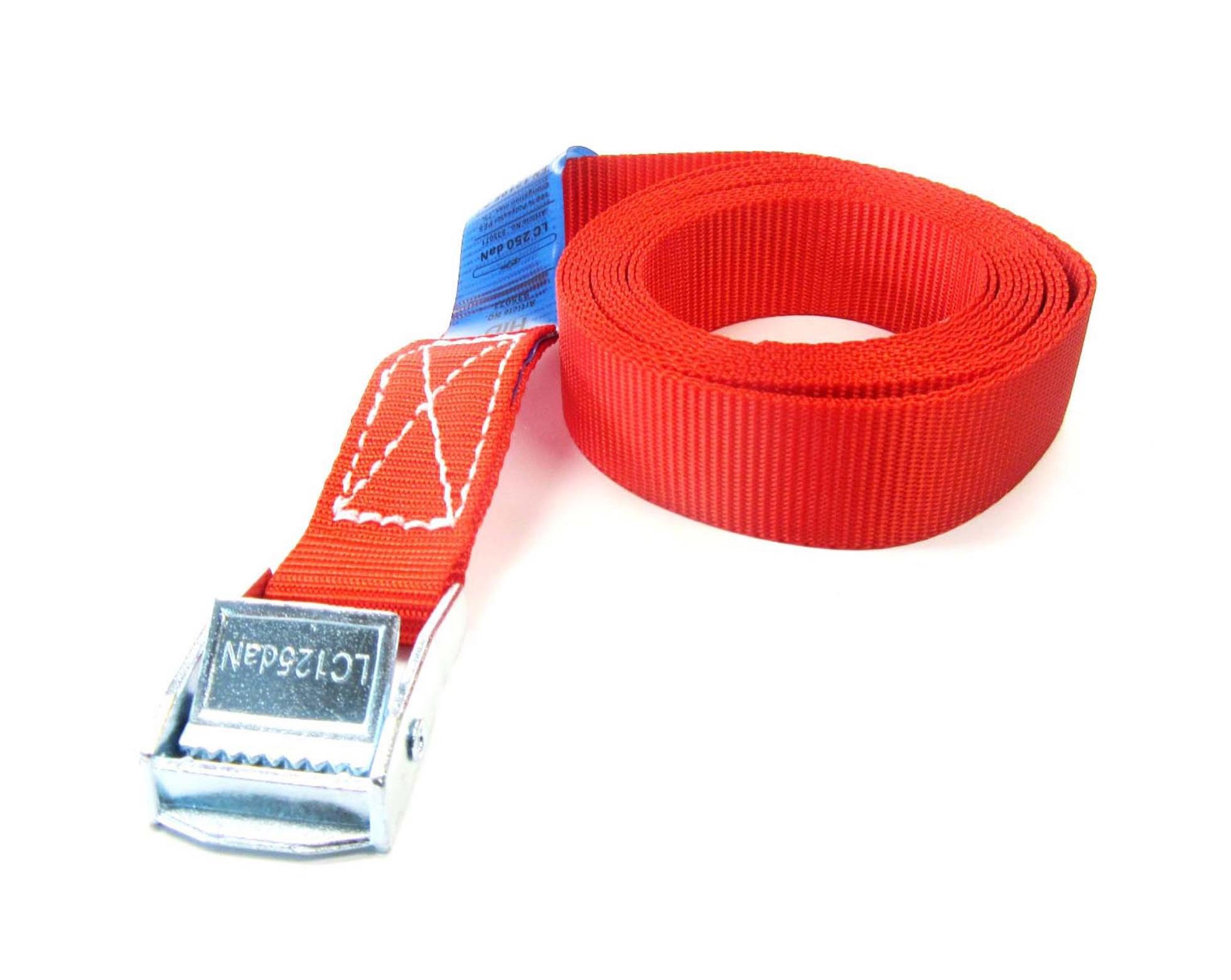 Spanband 25 mm rood 12 meter met klemsluiting