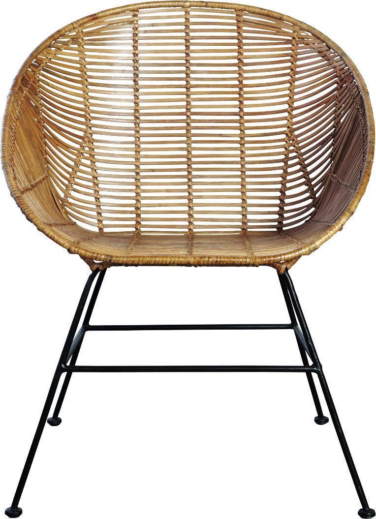 Loungestoel retro stoel bruin rotan house doctor for Rotan eettafel stoel