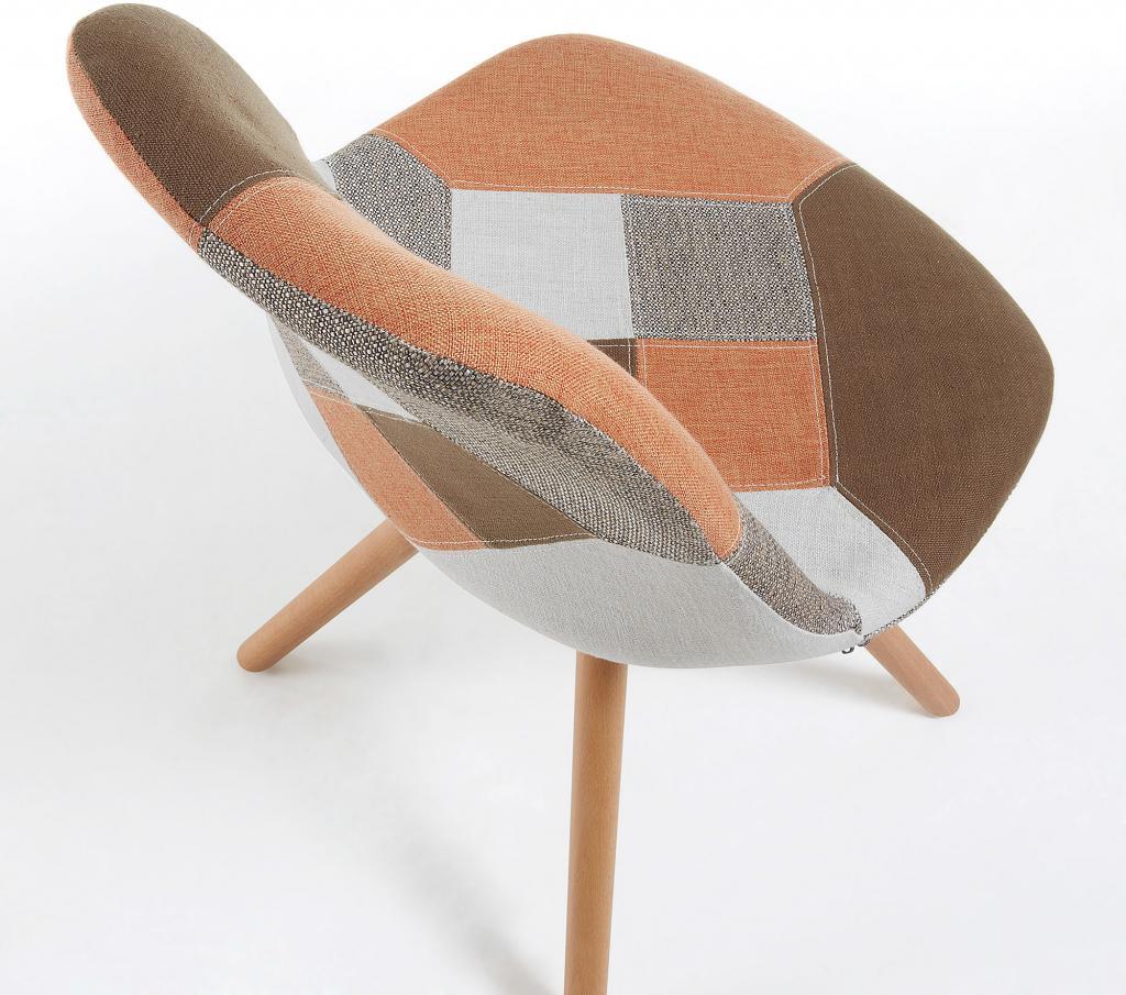 stoel lars patchwork bruin la forma. Black Bedroom Furniture Sets. Home Design Ideas