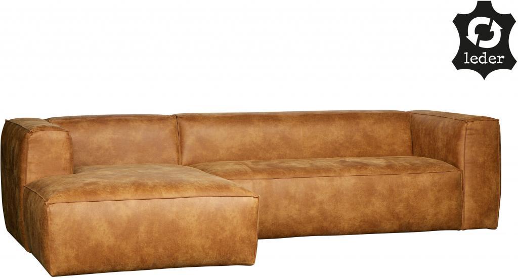 hoekbank bean links cognac leder woood. Black Bedroom Furniture Sets. Home Design Ideas