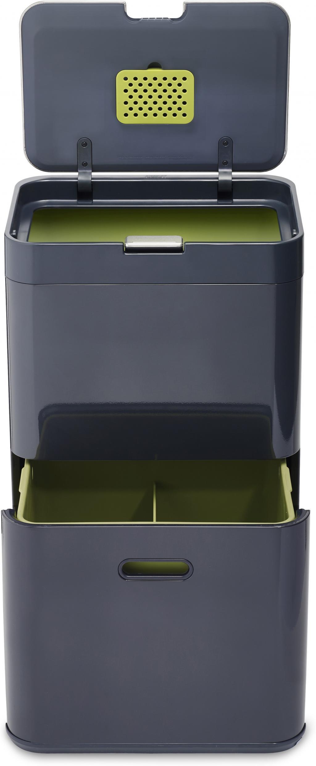 afvalscheidende prullenbak totem 48 liter graphite joseph joseph. Black Bedroom Furniture Sets. Home Design Ideas