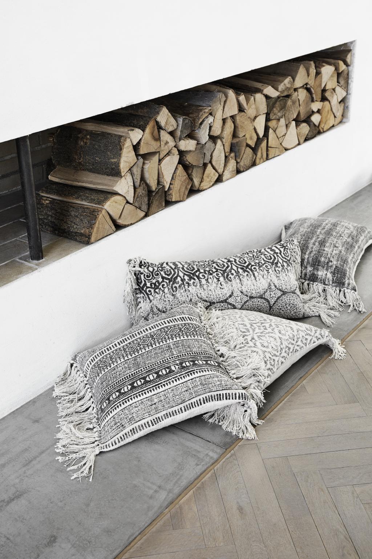 kissen baumwolle druck grau 60x40 cm nordal kaufen wohn und. Black Bedroom Furniture Sets. Home Design Ideas