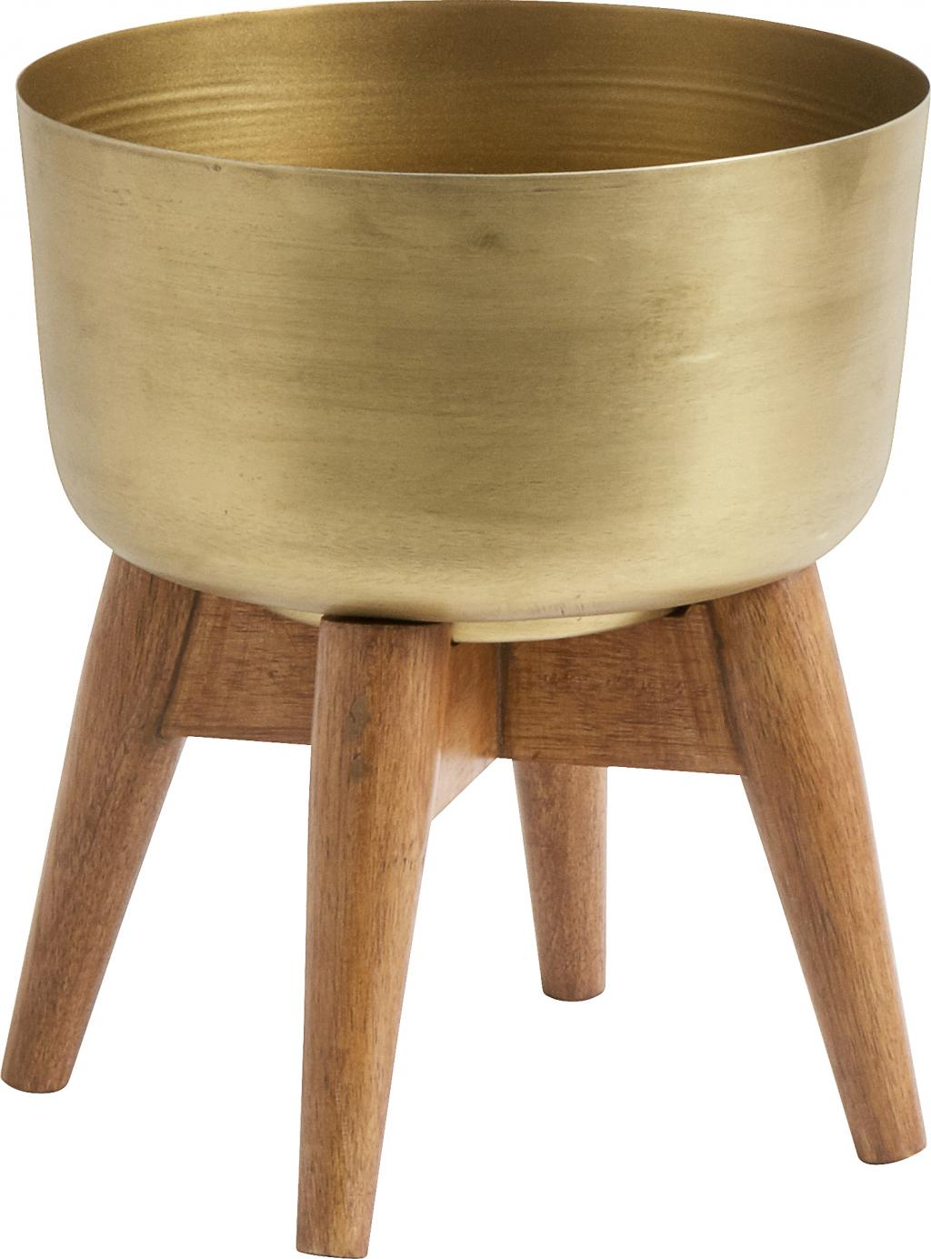plantenbak goud 21 x 24 cm mangohout en metaal nordal. Black Bedroom Furniture Sets. Home Design Ideas