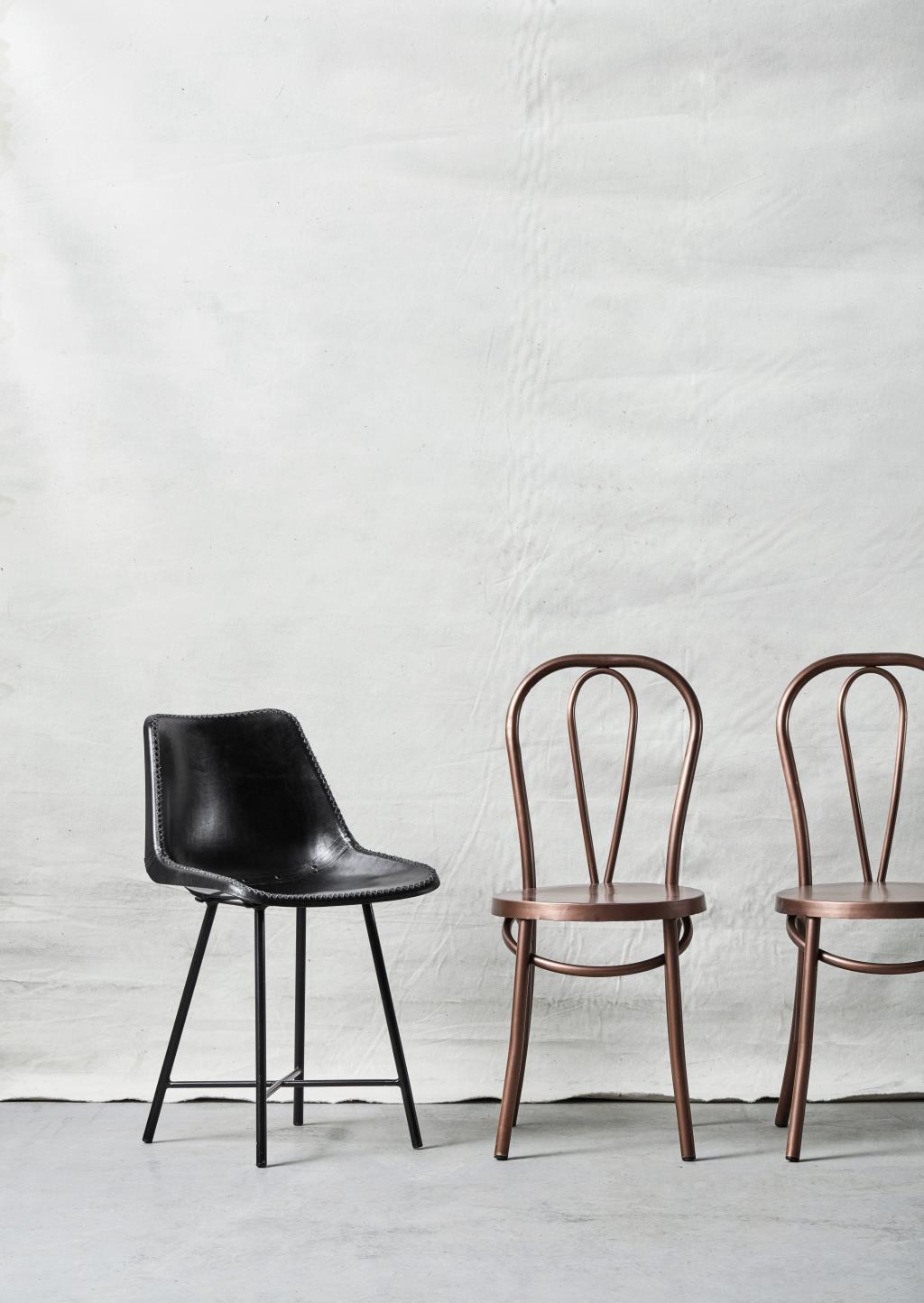 stuhl leder schwarz 79x50 cm nordal kaufen wohn und lifestylewebshop. Black Bedroom Furniture Sets. Home Design Ideas