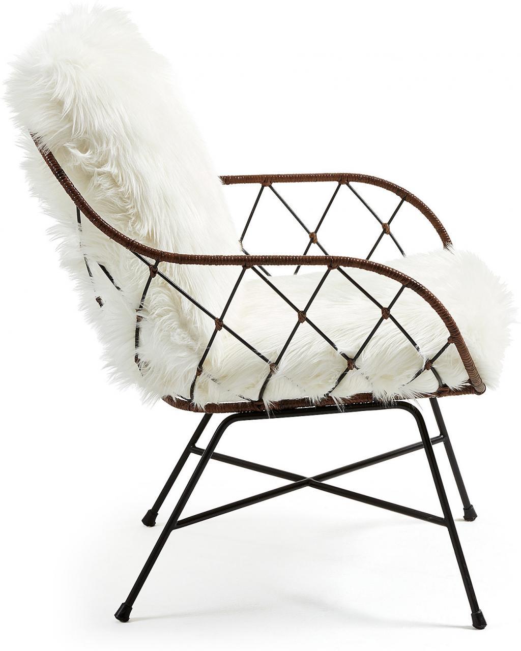 stuhl claque metall rattan kunstpelz wei la forma kaufen wohn und. Black Bedroom Furniture Sets. Home Design Ideas
