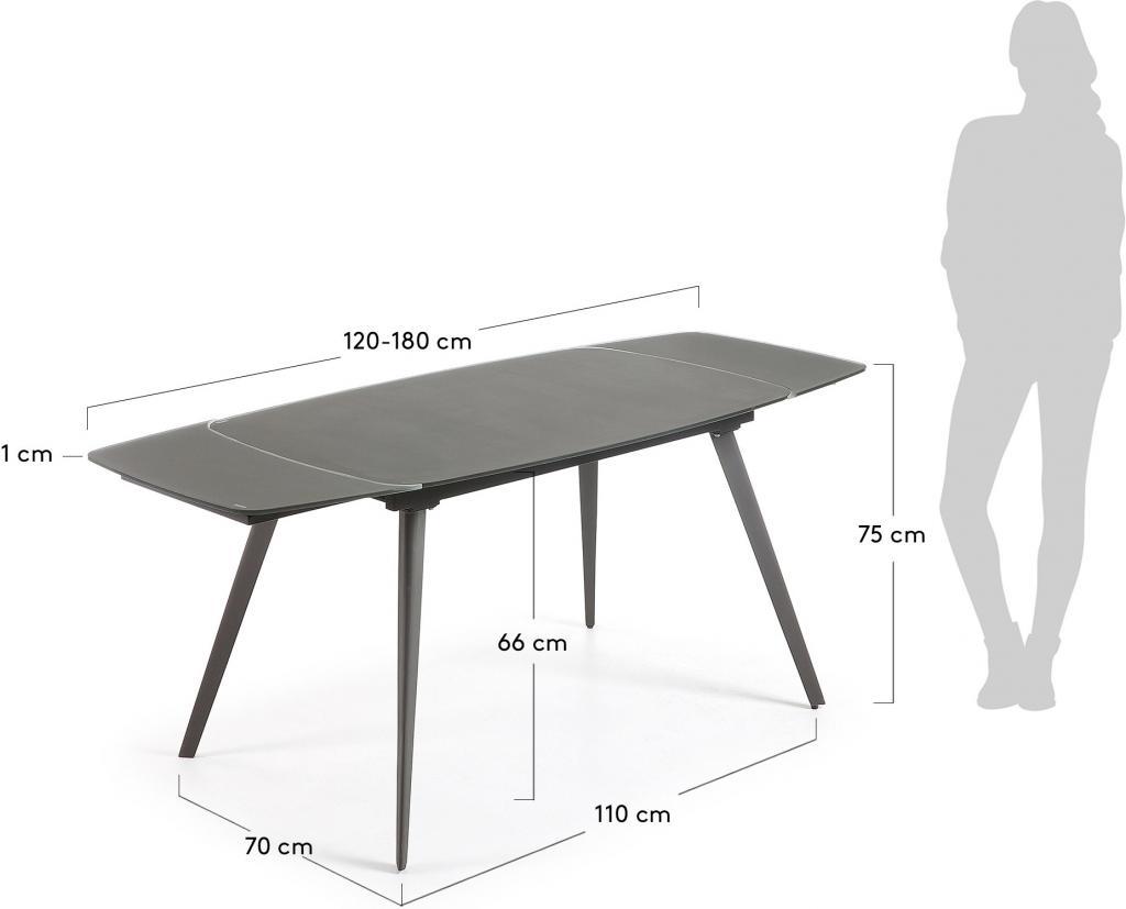 eettafel snugg verlengbaar 120 tot 180 cm antraciet la forma. Black Bedroom Furniture Sets. Home Design Ideas
