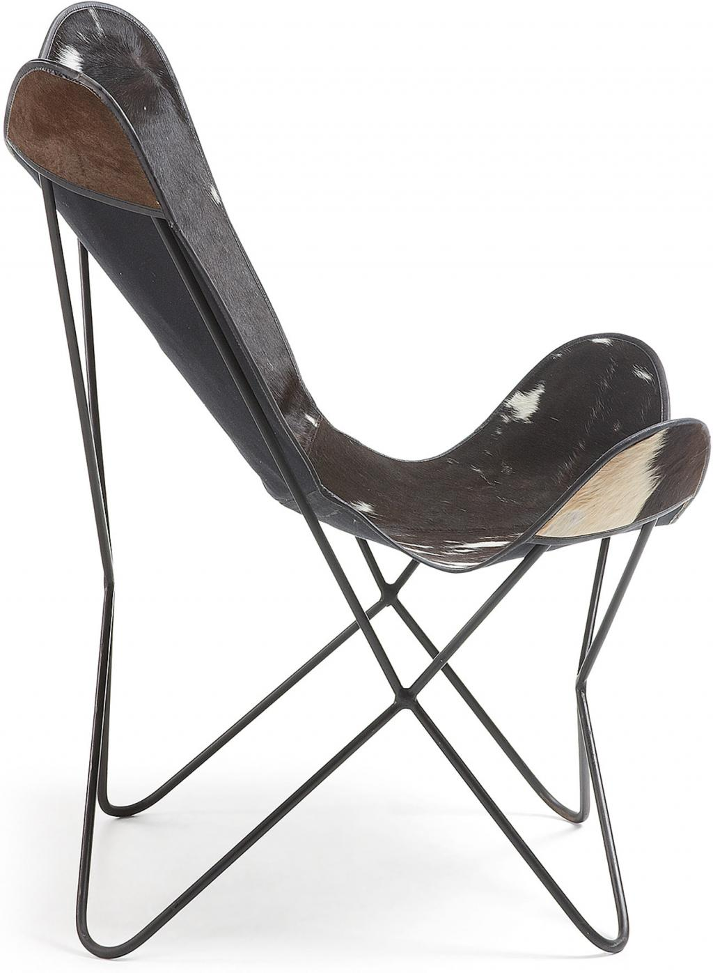 faltstuhl sessel flynn leder schwarz wei la forma kaufen wohn und. Black Bedroom Furniture Sets. Home Design Ideas