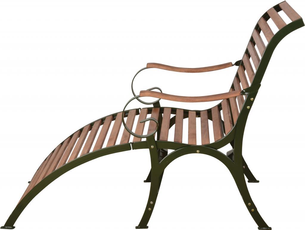 Liegestuhl gr n buche metall 2 in 1 esschert for Design liegestuhl