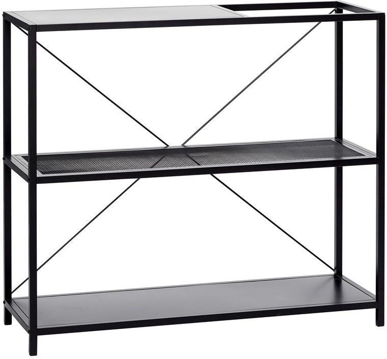 regalenschrank 3 regale metall schwarz hubsch kaufen wohn und. Black Bedroom Furniture Sets. Home Design Ideas