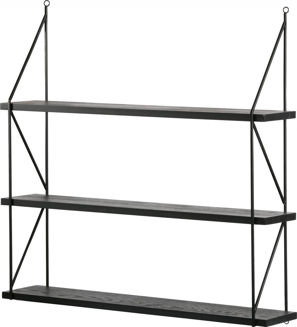 wandregal kiki 3 regale schwarz metall woood kaufen wohn und. Black Bedroom Furniture Sets. Home Design Ideas