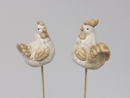 Doos Terracotta Kippen Op Stok 7 cm - 12 Stuks
