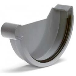 S-lon grijs PVC eindstuk klem links