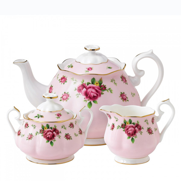 Royal Albert Servies Wit.Royal Albert New Country Roses 3 Delige Theeset Pink Vintage