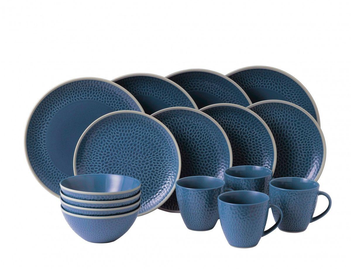 Serviesset 8 Personen.Royal Doulton Maze Grill 16 Delige Serviesset Blauw