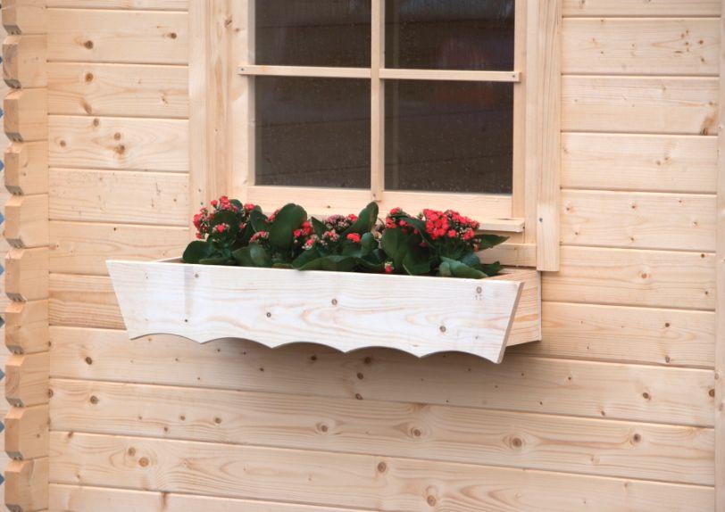 Raam bloembak met plastic binnenbak voor blokhut for Houten decoratie voor raam