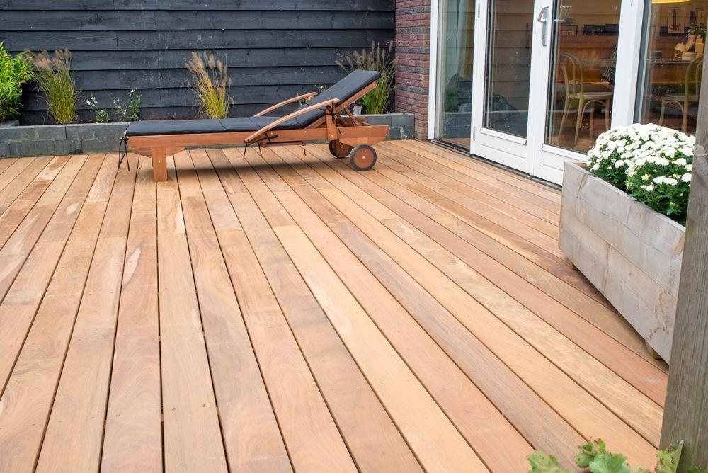 Vlonder In Tuin : Vlonder terras van hout hardhout geïmpregneerd planken