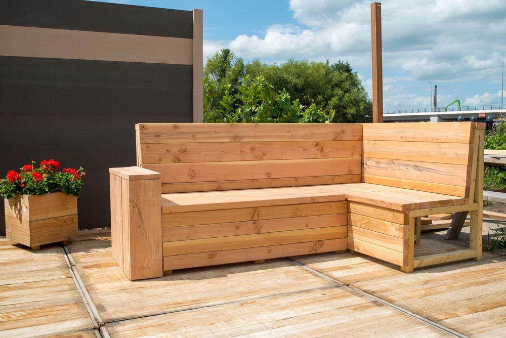 Loungebank tuin maken van lariks steigerhout