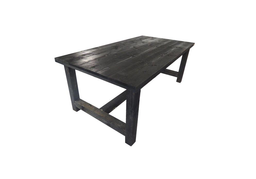 Kloostertafel steigerhout zwart 200 x 106 x 78 cm tuintafel for Tuintafel steigerhout bouwpakket