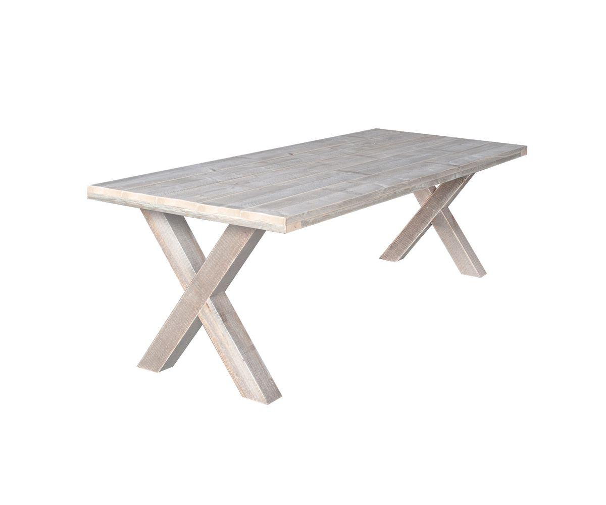 Kruispoot tafel steigerhout x poot tuintafel for Houten bankje steigerhout
