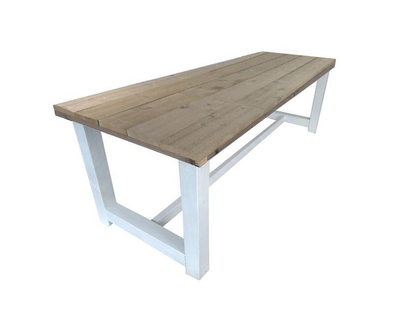 Kloostertafel steigerhout met wit onderstel 180 400 cm for Tuintafel steigerhout bouwpakket