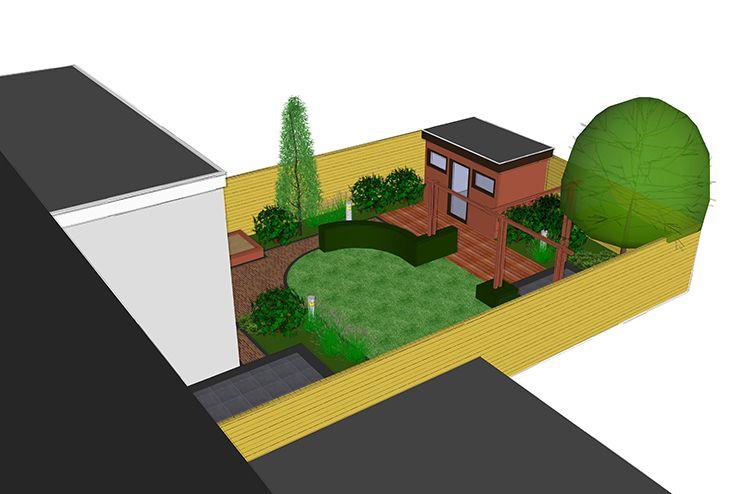 Tuinontwerp achtertuin 3d ontwerp tuin modern for 3d ontwerp badkamer maken