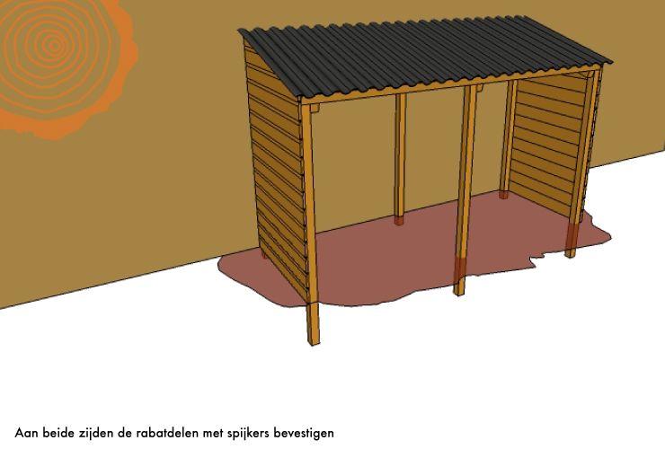 Zelf houten haardhout afdakje maken berging bouwen - Hoe een overdekt terras te bouwen ...