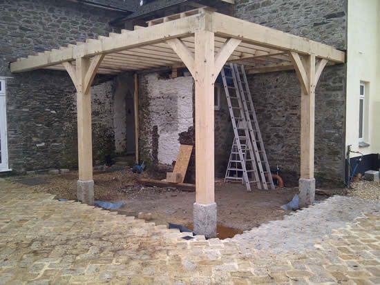Eiken houten overkapping maken terrasoverkapping eikenhout