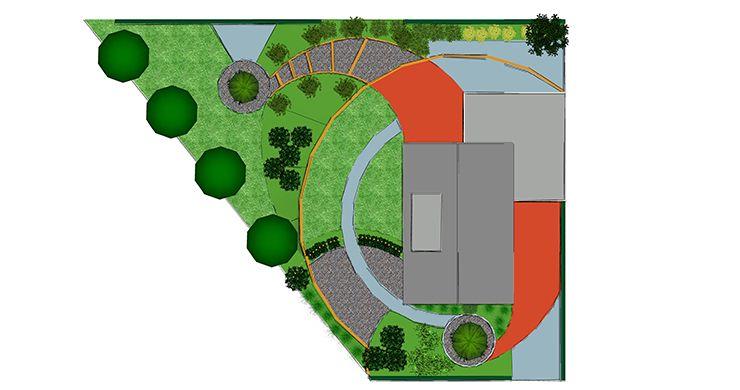 Grote tuin ontwerp 3d tuinontwerp laten tekenen for Trap tekenen plattegrond
