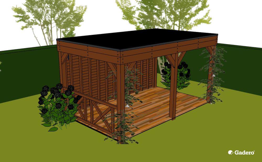 Lariks douglas terrasoverkapping plat dak zelf bouwen