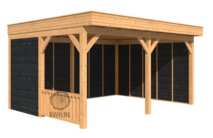 Zelf overkapping bouwen met plat dak van lariks douglas hout - Hoe dicht terras ...